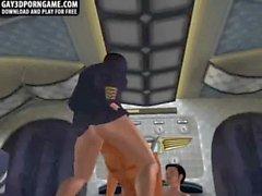 Horny 3D cartoon hunk double teamed on an airplane