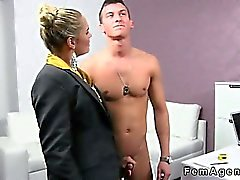 Amateur muscled dude fucks female agent in her office