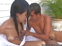 Cute Latina Teen With Braces Takes A Cock