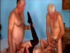 Bi 70 yr olds share a slut