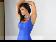 Denise Milani in blue Dress - non nude