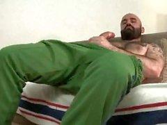 Peloso Orso masturbandosi e Sborre