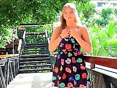 Melissa porn teen blonde fingers cucumber outside