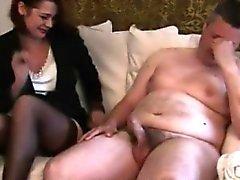 Pathetic cock cums after a striptease