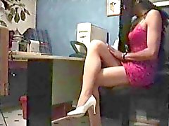Crossdresser in office with homemade sex machine