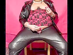 Chrissie smoking & wanking in shiny leggings pt 5