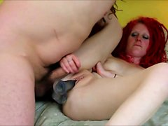 Redhead perfect girl anal fingered in shower