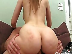 Curvy shy girl has her bush banged