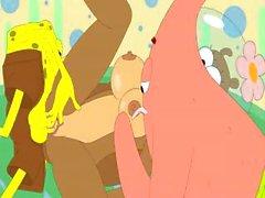Возбужденный Губка Боб Квадратные Штаны трахает мультипликационный персонаж Sandy
