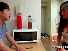 Lucky virgin dude fucks with an experienced horny Korean chick