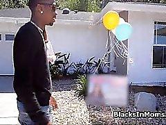 Bigtit realtor rides two big black cocks