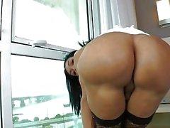 Shemale Sabrina Suzuki strokes big cock