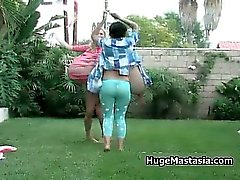 Sexy babes walk outdoor showing off part4