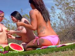 Spy on 3 girls nude picnic turned sweaty lesbian pussy licking fest Preview
