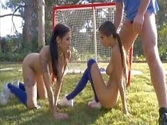 Marvellous threesome with two sporty teens