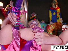Crazy Clown Leya takes her aggressions out on her pussy