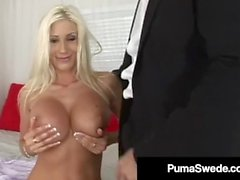 Busty Blonde Amazon Puma Swede Gets A Face-full Of Cum!