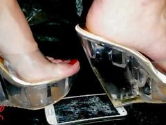 'Lady L crush mobile phone Samsung bwith clear sexy mules