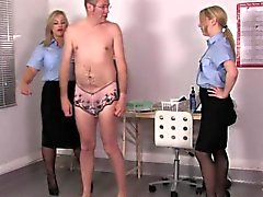 Uniformed femdoms assfinger sissyboy