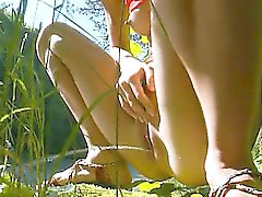 Petite russian teen peeing in a forest