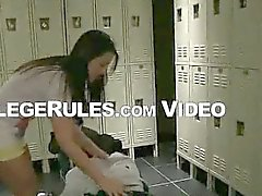 Brunette college babe sucks cock in the locker room