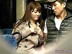 Asian slut cocsucks till cum while in public