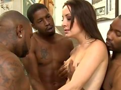Kinky babe asshole rammed by black dudes in many poses
