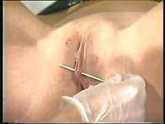 Horny mistress orders two others to shave hairy pussy of dirty slave so she can pierc her pussy lips