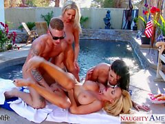 Sexy wives Emma Starr, Jessica Jaymes and Nikki Benz sharing