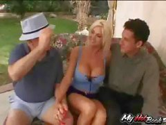 Blonde MILF, Lori Pleasure gets fucked by one dude while two others watch