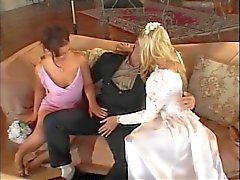 Bride getting a girl and guy to fuck