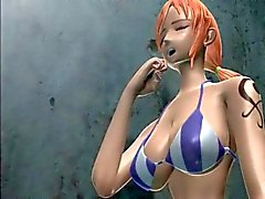 Slutty anime redhead blowing a large phallus