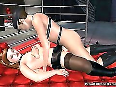 Sexy 3D cartoon brunette vixen getting fucked hard