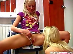 Young lesbos have fun in locker room