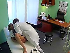 Naughty blonde nurse banged by doctor