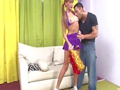 Hunk ass-fucks shemale cheerleader