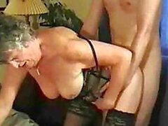 Graany woman fucking guy till getting cumshots on face