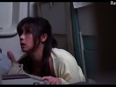 Japanese Milf helps adjacent seat cum out on aeroplane