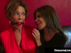 Sidottu Cougars Deauxma & Ashley Renee Fuck Ball Gagged!