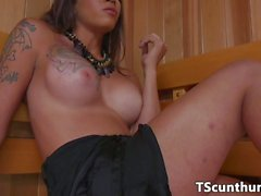 TS beauty creampies busty babe at the sauna