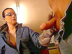 Horny brunette milf playing with daddys huge old cock