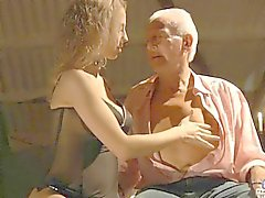 Hot busty teen seduces a horny grandpa