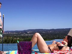 Redhead cougar spitroasted outdoor by the pool