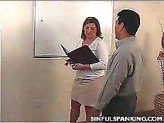 Office Lady Ass Belt Spanked