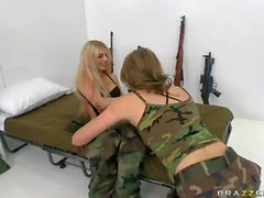 Lesbian army girls Jessie Andrews and Jana Jordan