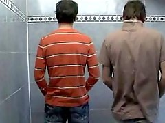 Trio in a public toilet