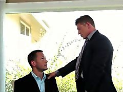 Suited jock gets facial