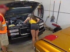 'Roadside - Brunette Ally Cooper Bangs Her Local Car Mechanic'