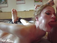 Sloppy deepthroat - facefuck sputo e sperma faccia