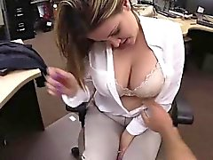 Busty babe sucking cock in strange pawnshop